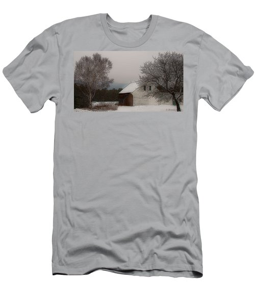 Men's T-Shirt (Slim Fit) featuring the photograph Melvin Village Barn In Winter by Brenda Jacobs