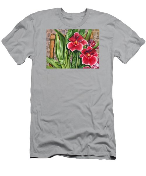 Miltonia Orchids Men's T-Shirt (Slim Fit) by Lynda Hoffman-Snodgrass