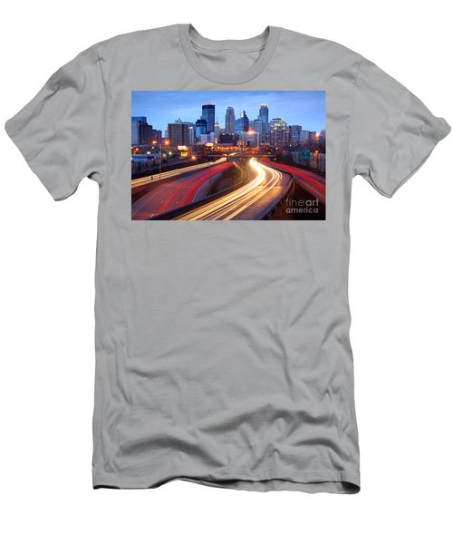 Minneapolis Skyline At Dusk Early Evening Men's T-Shirt (Athletic Fit)