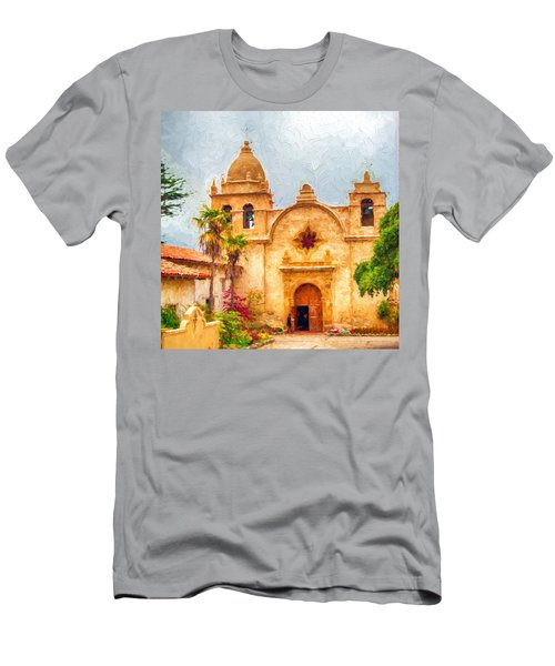 Mission San Carlos Borromeo De Carmelo Impasto Style Men's T-Shirt (Athletic Fit)