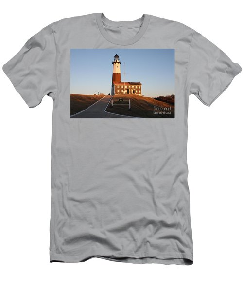 Montauk Lighthouse Entrance Men's T-Shirt (Slim Fit) by John Telfer
