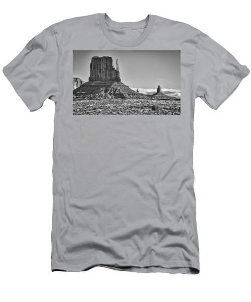Men's T-Shirt (Slim Fit) featuring the photograph Monument Valley 3 Bw by Ron White