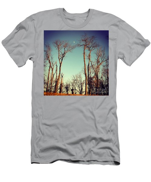 Men's T-Shirt (Slim Fit) featuring the photograph Moon Between The Trees by Kerri Farley