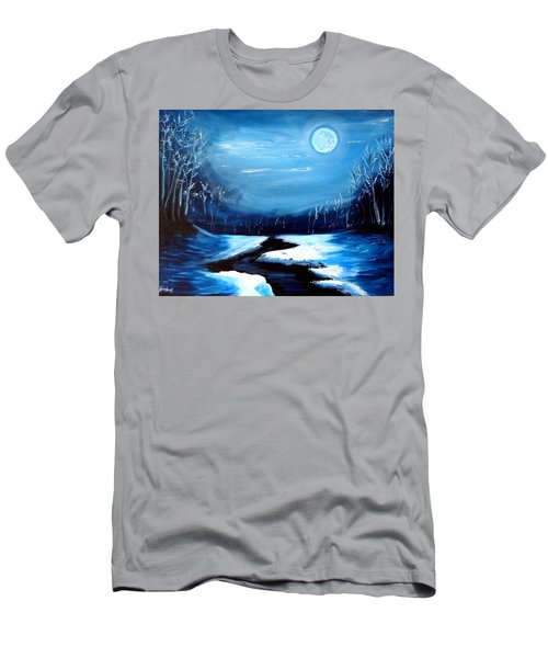 Moon Snow Trees River Winter Men's T-Shirt (Athletic Fit)