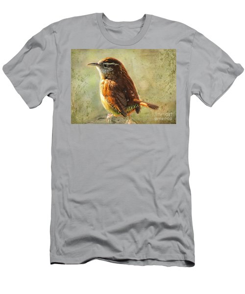 Morning Carolina Wren Men's T-Shirt (Slim Fit) by Debbie Portwood