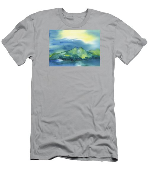 Men's T-Shirt (Slim Fit) featuring the painting Morning Over The Mountain by Frank Bright