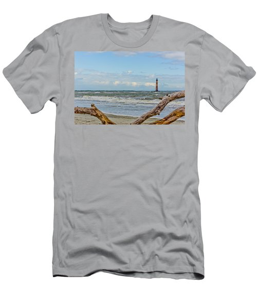 Morris Island Light With Driftwood Men's T-Shirt (Athletic Fit)