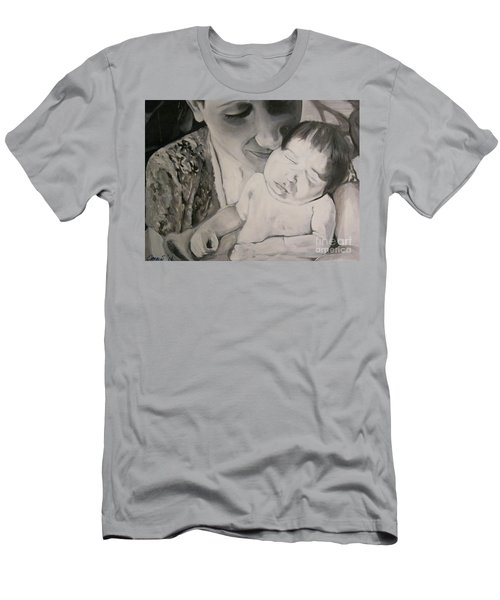Men's T-Shirt (Slim Fit) featuring the painting Mother And Child by Carrie Maurer