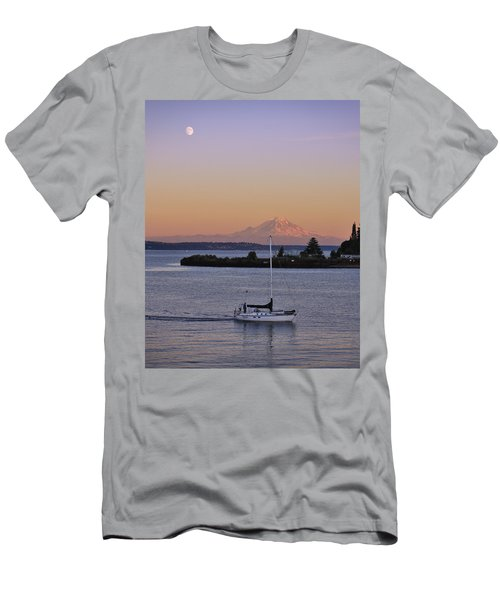 Mt. Rainier Afterglow Men's T-Shirt (Slim Fit) by Adam Romanowicz