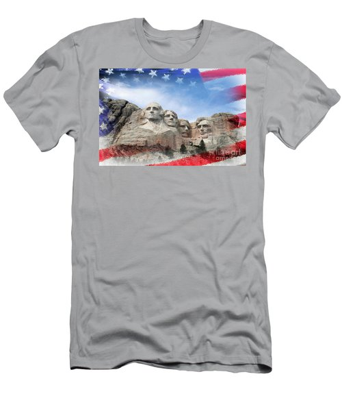 Mt Rushmore Flag Frame Men's T-Shirt (Athletic Fit)