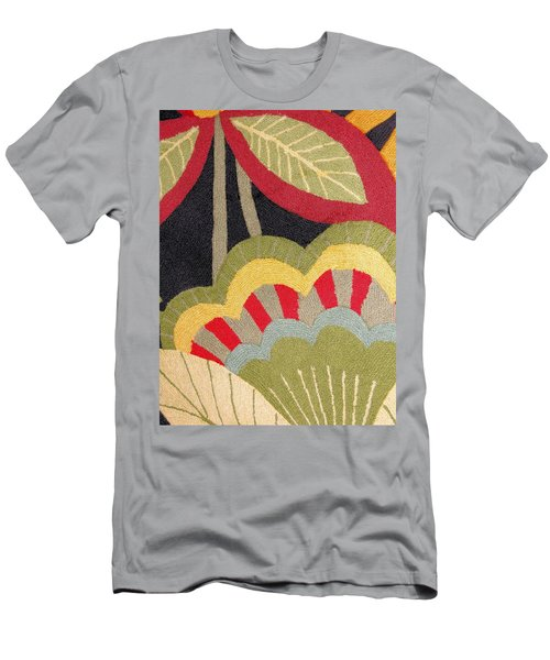Men's T-Shirt (Slim Fit) featuring the photograph Multi-colored Flowers Leaves Textile by Janette Boyd