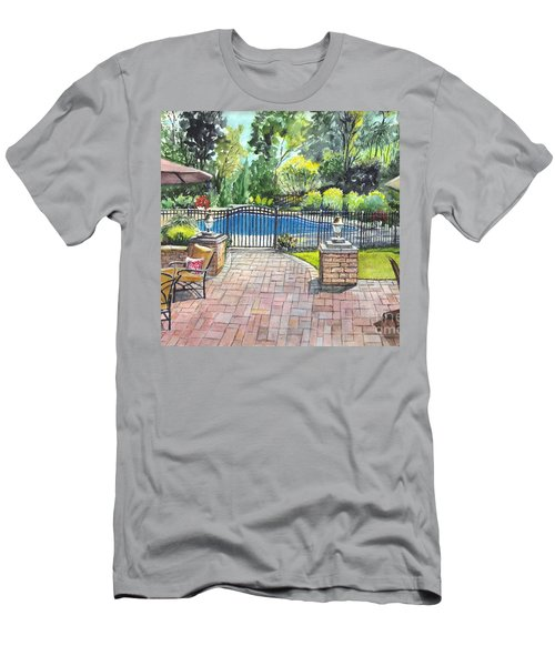 Men's T-Shirt (Slim Fit) featuring the painting My Backyard Vacation by Carol Wisniewski