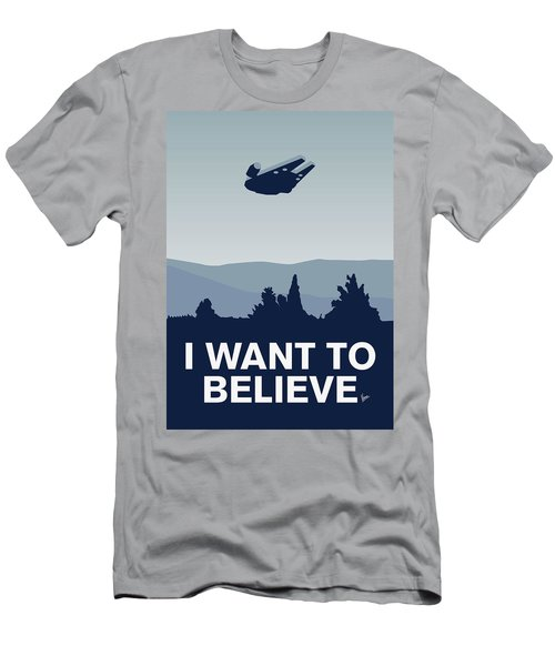 My I Want To Believe Minimal Poster-millennium Falcon Men's T-Shirt (Athletic Fit)