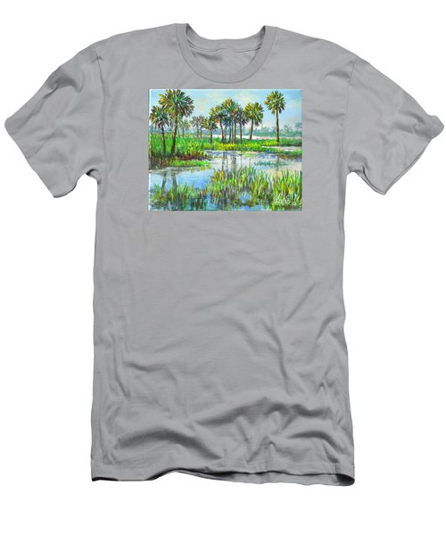 Myakka Lake With Palms Men's T-Shirt (Slim Fit) by Lou Ann Bagnall
