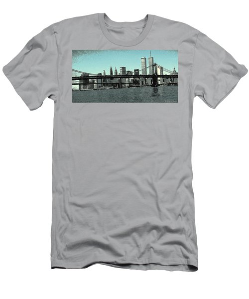 New York Downtown Manhattan Skyline - Blue Panorama Men's T-Shirt (Athletic Fit)