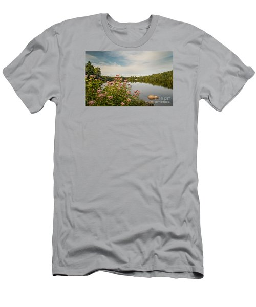 Men's T-Shirt (Slim Fit) featuring the photograph New York Lake by Debbie Green