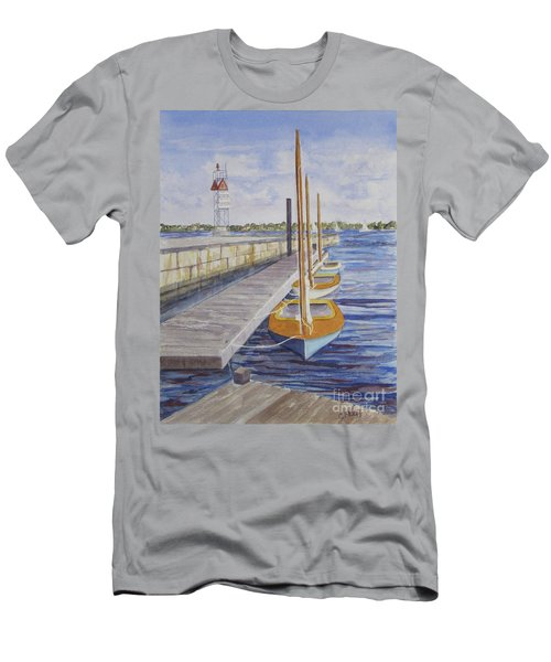 Men's T-Shirt (Slim Fit) featuring the painting Newport Boats In Waiting by Carol Flagg