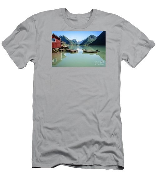 Reflection Of A Boat And A Boathouse In A Fjord In Norway Men's T-Shirt (Slim Fit) by IPics Photography