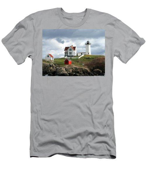 Nubble Lighthouse Men's T-Shirt (Slim Fit) by Nancy Landry