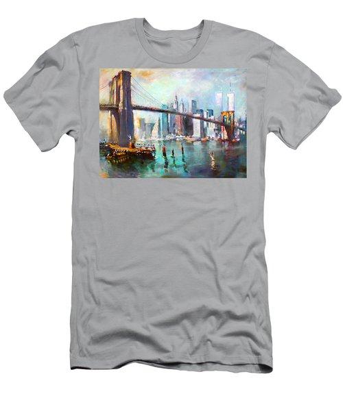 Ny City Brooklyn Bridge II Men's T-Shirt (Athletic Fit)