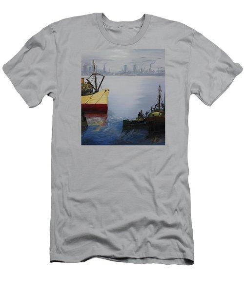 Oil Msc 025  Men's T-Shirt (Slim Fit) by Mario Sergio Calzi