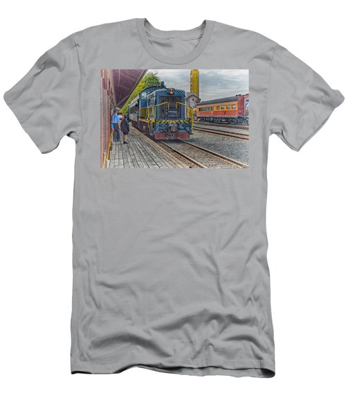 Men's T-Shirt (Slim Fit) featuring the photograph Old Town Sacramento Railroad by Jim Thompson
