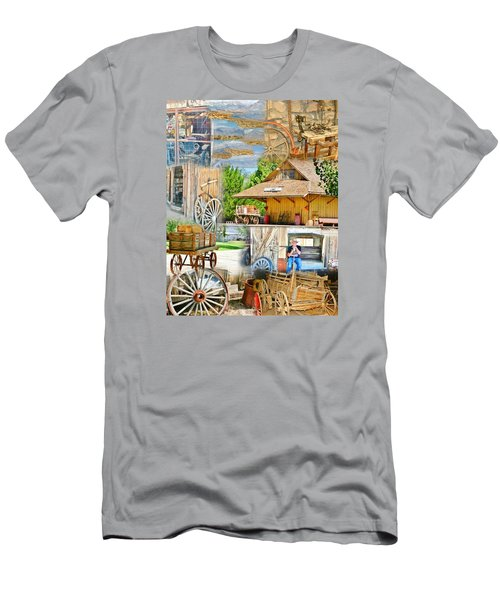 Men's T-Shirt (Slim Fit) featuring the photograph Old West Collage by Marilyn Diaz