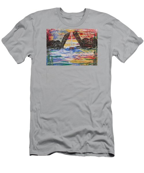 On The Hour. The Sailboat And The Steel Bridge Men's T-Shirt (Slim Fit) by Andrew J Andropolis