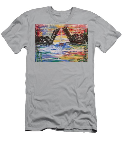 On The Hour. The Sailboat And The Steel Bridge Men's T-Shirt (Athletic Fit)
