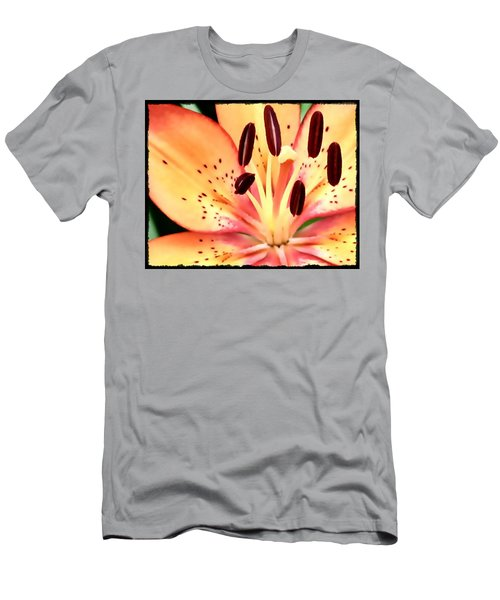 Orange And Pink Flower Men's T-Shirt (Athletic Fit)