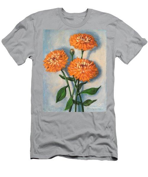 Men's T-Shirt (Slim Fit) featuring the painting Orange Zinnias by Randol Burns