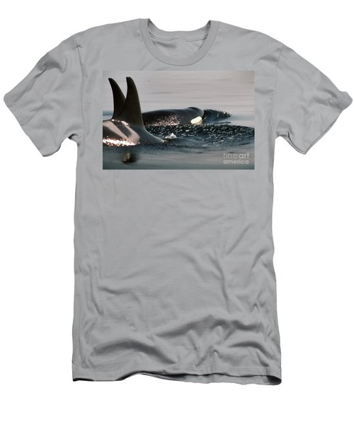 Men's T-Shirt (Slim Fit) featuring the photograph Orcas/killer Whales Off The San Juan Islands 1986 by California Views Mr Pat Hathaway Archives