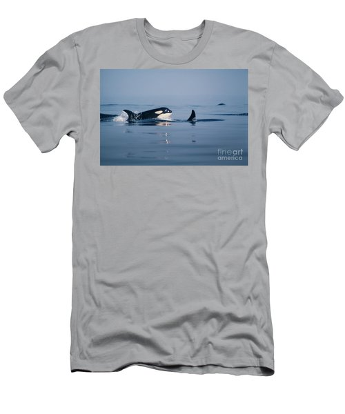 Men's T-Shirt (Slim Fit) featuring the photograph Orcas Off The San Juan Islands Washington  1986 by California Views Mr Pat Hathaway Archives