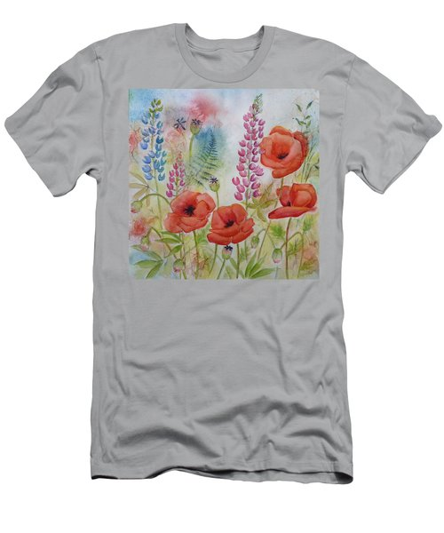 Oriental Poppies Meadow Men's T-Shirt (Slim Fit) by Carla Parris