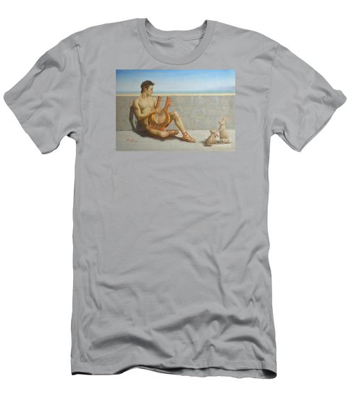 Original Oil Painting Gay Man Art-male Nude And Rabbit#16-02-5-41 Men's T-Shirt (Athletic Fit)