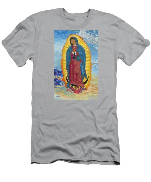 Men's T-Shirt (Slim Fit) featuring the painting Our Lady Of Guadalupe-new Dawn by Mark Robbins