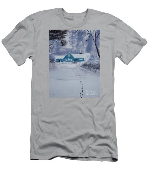 Men's T-Shirt (Slim Fit) featuring the painting Our Little Cabin In The Snow by Ian Donley