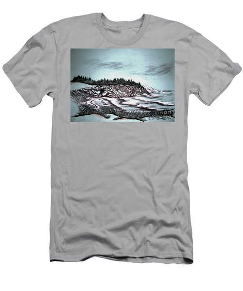 Men's T-Shirt (Slim Fit) featuring the drawing Oven's Park Nova Scotia by Janice Rae Pariza