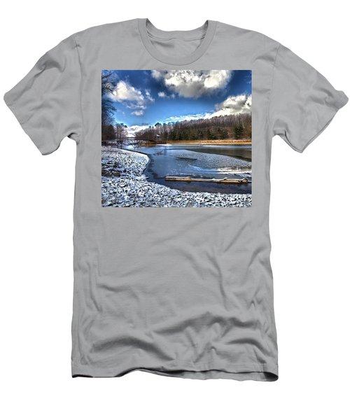 Men's T-Shirt (Slim Fit) featuring the photograph Over Da River N Thru Da Woods by Robert McCubbin