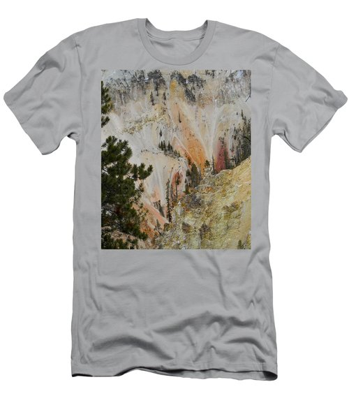 Men's T-Shirt (Slim Fit) featuring the photograph Painted Canyon At Lower Falls by Michele Myers