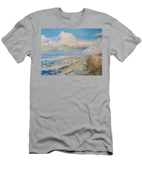 Men's T-Shirt (Slim Fit) featuring the painting Panama City Beach by Alan Lakin