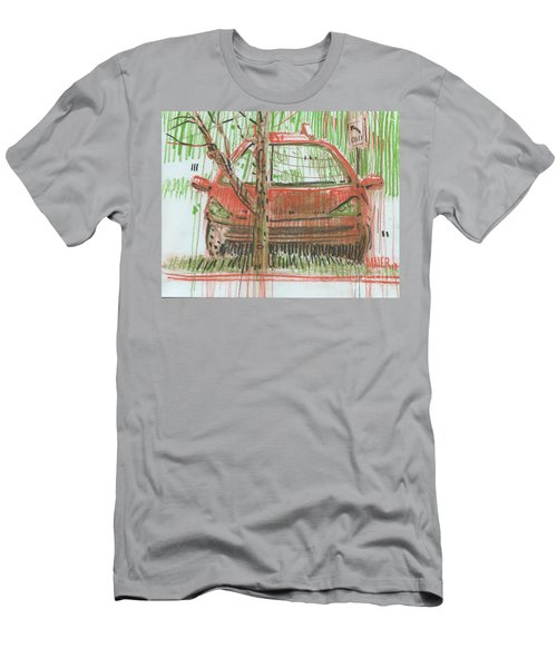 Men's T-Shirt (Slim Fit) featuring the painting Papa John's by Donald Maier