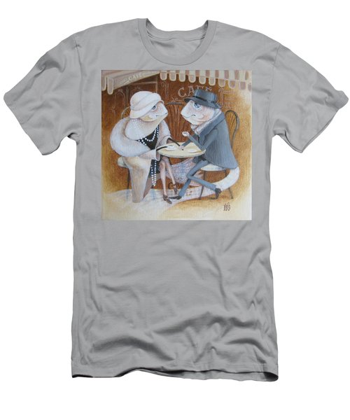 Men's T-Shirt (Slim Fit) featuring the painting Paris Cafe by Marina Gnetetsky