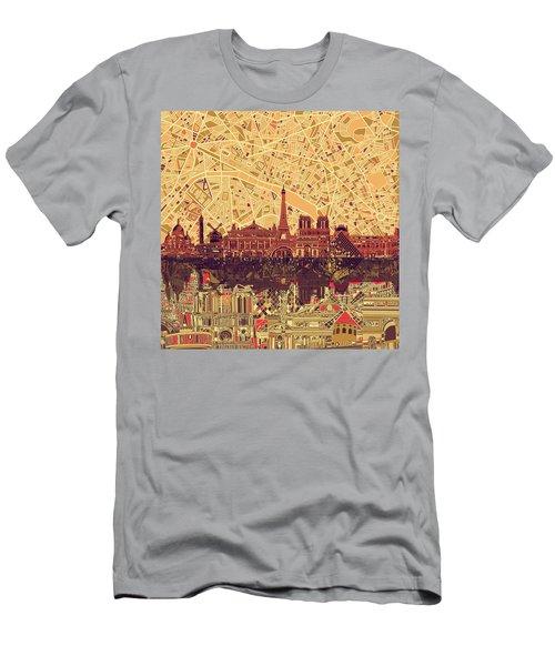 Paris Skyline Abstract Sepia Men's T-Shirt (Athletic Fit)