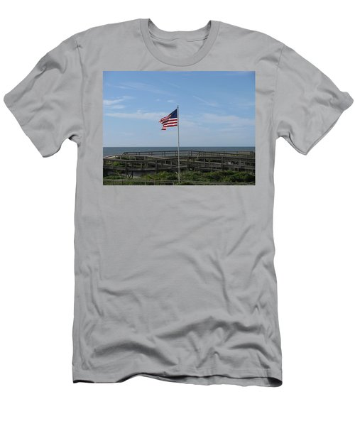 Patriotic Beach View Men's T-Shirt (Slim Fit) by Ellen Meakin