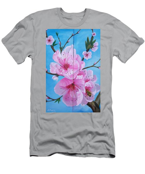 Peach Tree In Bloom Diptych Men's T-Shirt (Athletic Fit)