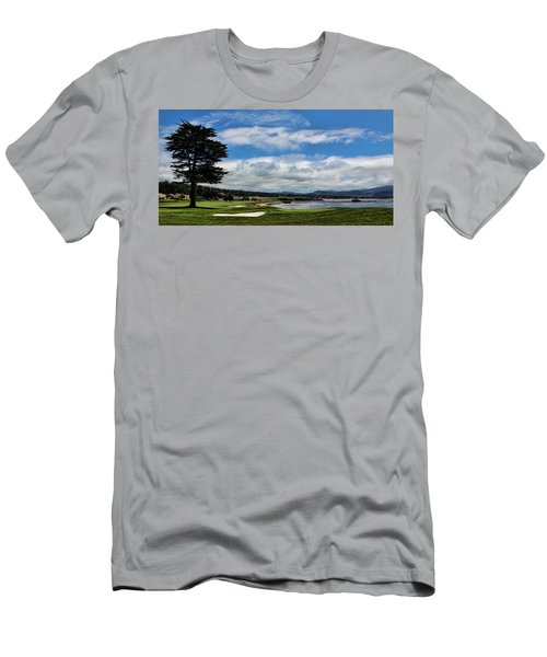 Pebble Beach - The 18th Hole Men's T-Shirt (Slim Fit) by Judy Vincent