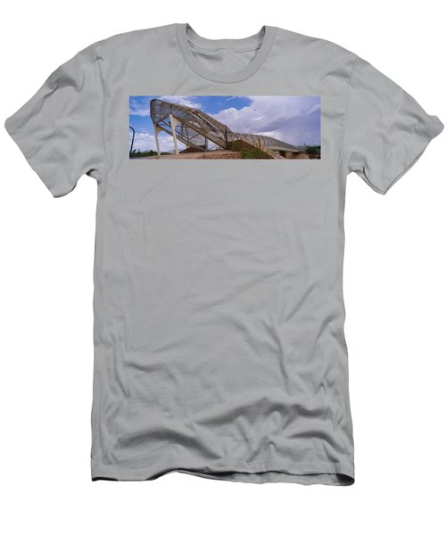 Pedestrian Bridge Over A River, Snake Men's T-Shirt (Slim Fit) by Panoramic Images