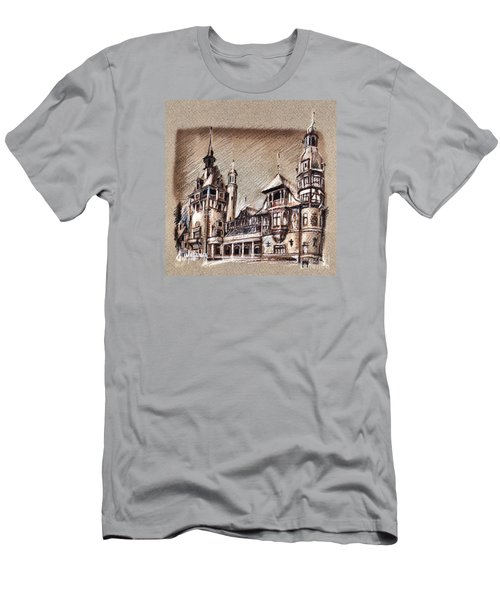 Peles Castle Romania Drawing Men's T-Shirt (Athletic Fit)