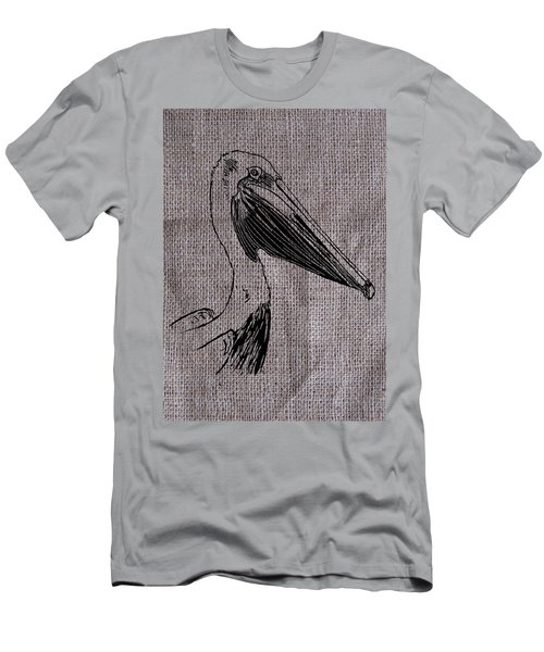 Pelican On Burlap Men's T-Shirt (Athletic Fit)